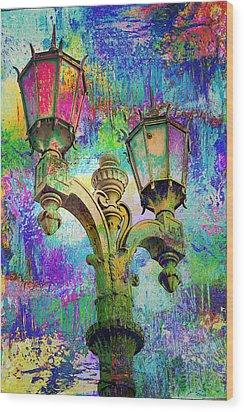 Street Lamp Rainbows Wood Print