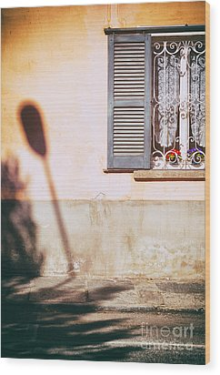 Wood Print featuring the photograph Street Lamp Shadow And Window by Silvia Ganora