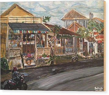 Wood Print featuring the painting Street Life by Belinda Low