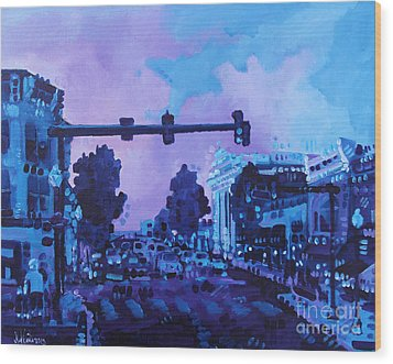 Street Life On Broad Street Wood Print by Michael Ciccotello