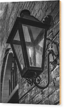 Street Light In Black And White Wood Print by John McGraw