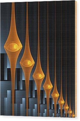 Wood Print featuring the digital art Street Lights by Gabiw Art