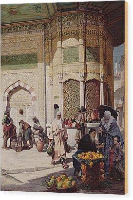 Street Merchant In Istanbul Wood Print by Hippolyte Berteaux
