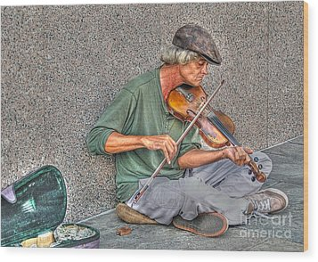Street Music Wood Print by Kathy Baccari