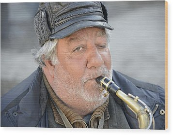 Street Musician - The Gypsy Saxophonist 1 Wood Print