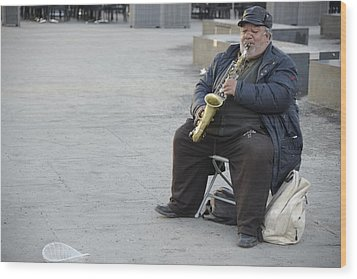 Street Musician - The Gypsy Saxophonist 3 Wood Print