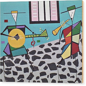 Street Musicians Wood Print by Lew Griffin