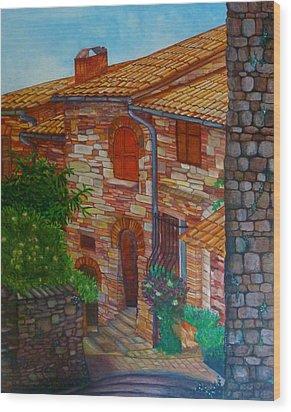 Street Of Assisi Wood Print by Beata Dagiel