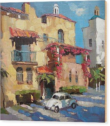 Street Of Playa Del Carmen Wood Print