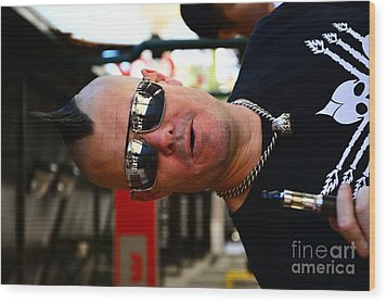 Street Performer Enjoying His Pipe Of Smoke 01 Wood Print by Bobby Mandal