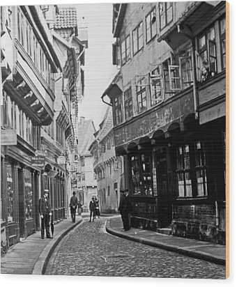 Wood Print featuring the photograph Street Scene Braunschweig Germany 1903 by A Gurmankin