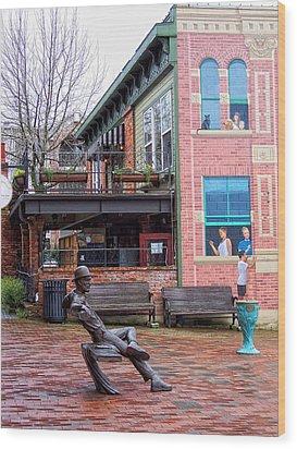 Street Scene Wood Print by Donna Blackhall