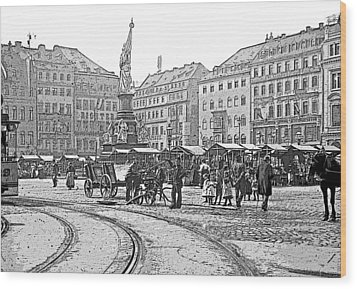 Wood Print featuring the photograph Street Scene Dresden Germany C1900 Vintage Poster Image by A Gurmankin