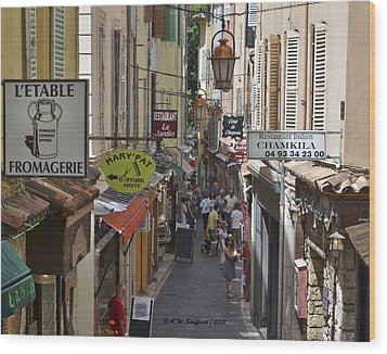 Wood Print featuring the photograph Street Scene In Antibes by Allen Sheffield