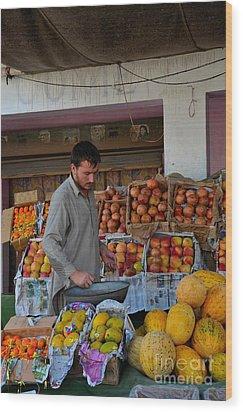 Street Side Fruit Vendor Islamabad Pakistan Wood Print by Imran Ahmed