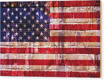 Street Star Spangled Banner Wood Print by Delphimages Photo Creations