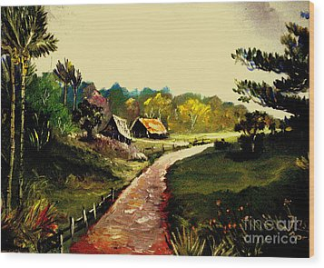 Wood Print featuring the painting Street  To Countryside by Jason Sentuf