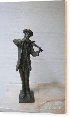 Street Violinist Wood Print by Nikola Litchkov