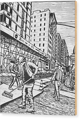 Street Work In New York Wood Print by William Cauthern