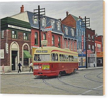 Wood Print featuring the painting Streetcar On Queen Street 1963 by Kenneth M  Kirsch