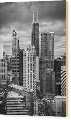 Streeterville From Above Black And White Wood Print by Adam Romanowicz