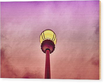 Streetlight And Clouds Wood Print by J Riley Johnson