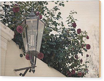 Streetlight Surrounded By Roses Wood Print by Aiolos Greek Collections
