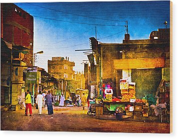 Streets Of An Egyptian Village Wood Print by Mark E Tisdale