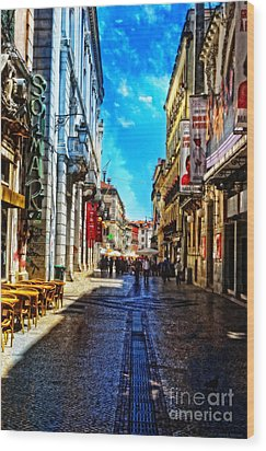 Streets Of Lisbon 1 Wood Print by Mary Machare