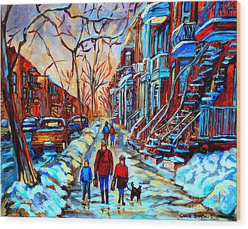 Streets Of Montreal Wood Print by Carole Spandau