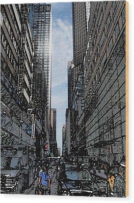 Streets Of New York City Wood Print by Mario Perez