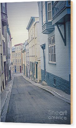 Streets Of Old Quebec City Wood Print by Edward Fielding