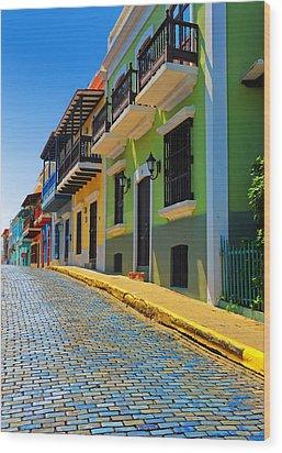 Streets Of Old San Juan Wood Print by Stephen Anderson