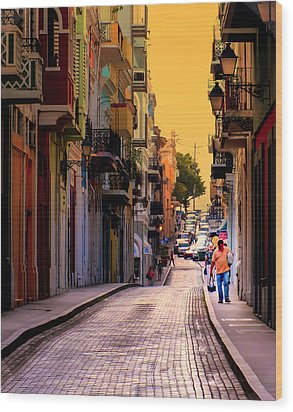 Streets Of San Juan Wood Print by Karen Wiles