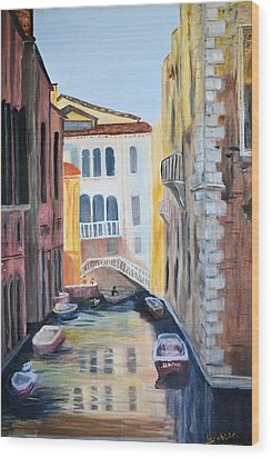 Streets Of Venice Wood Print by Debbie Baker