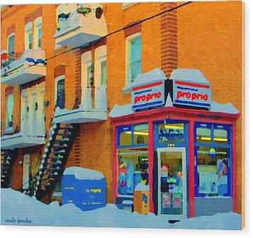 Streets Of Verdun Corner Depanneur Proprio Staircases In Winter Montreal City Scene Carole Spandau Wood Print by Carole Spandau
