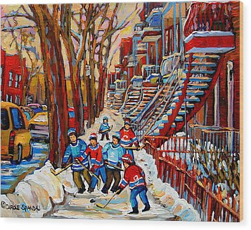 Streets Of Verdun Hockey Art Montreal Street Scene With Outdoor Winding Staircases Wood Print by Carole Spandau
