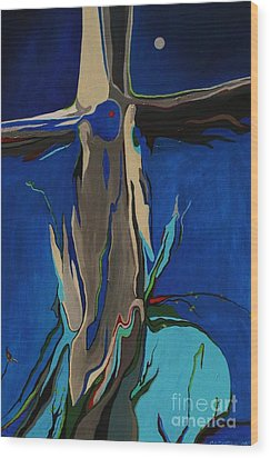 Wood Print featuring the painting Strength by Alison Caltrider