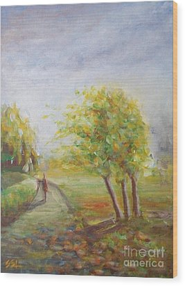 Wood Print featuring the painting Strength by Jane  See