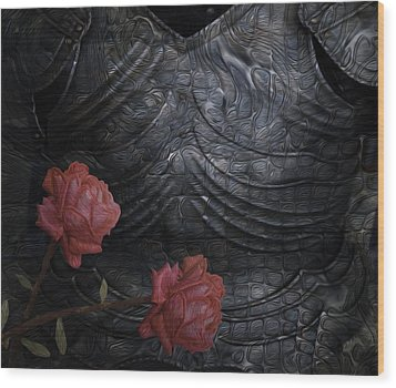 Strength Of A Rose Wood Print by Jack Zulli