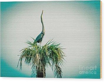 Stretching Heron Wood Print by Bob and Nancy Kendrick