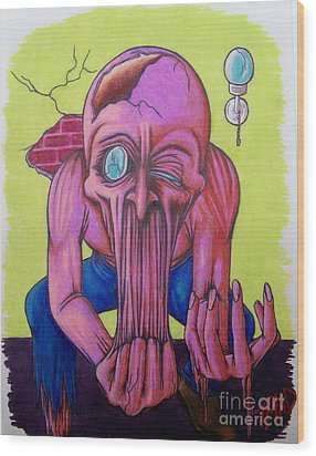 Wood Print featuring the drawing Stretching The Truth by Michael  TMAD Finney