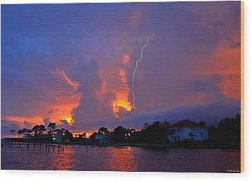 Wood Print featuring the photograph Strike Up The Middle At Sunset by Jeff at JSJ Photography