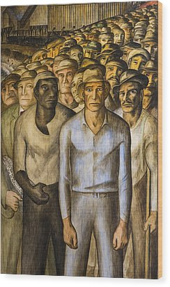Striking Miners Mural In Coit Tower Wood Print by Adam Romanowicz