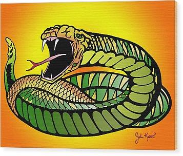 Striking Snake Wood Print by John Keaton
