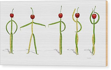 Wood Print featuring the photograph Stringbean Cherries Five Ballet Positions  by Donna Basile