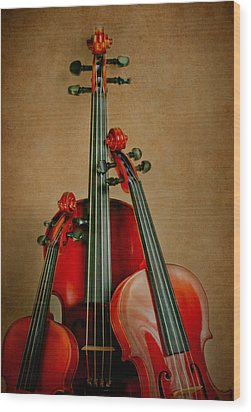 Stringed Trio Wood Print by David and Carol Kelly
