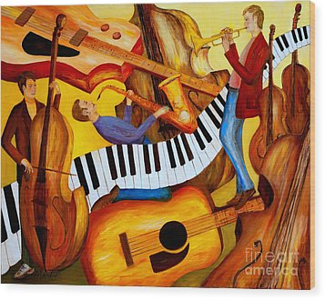 Strings And Things Wood Print by Larry Martin