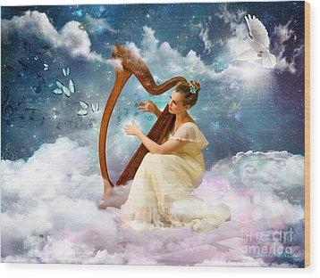 Strings Of My Heart Wood Print