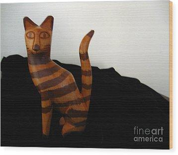 Striped Cat Wood Print